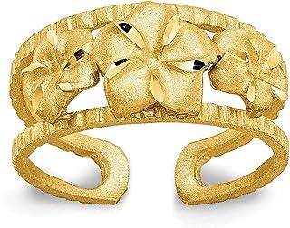 14K Yellow Gold Plumeria Toe Ring