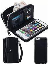 iPhone 5S/SE Wallet Case, HYSJY Magnetic Detachable PU Leather Wallet Purse For Women Men with Zipper , Credit card Slots, Card Holer,Flip Slim Cover Case Fit iPhone 5/5S/SE (ZIP-Black)