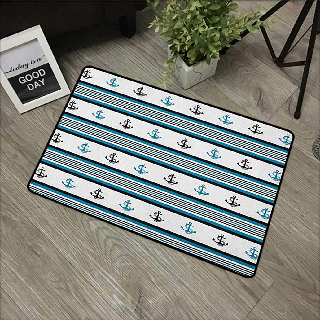 Living Room Door mat W24 x L35 INCH Anchor,Borders with Stripes and Anchor Figures Hipster Design Retro Style Maritime, Blue Black White with Non-Slip Backing Door Mat Carpet