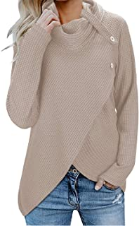 Inorin Womens Wrap Waffle Shirts Turtleneck Loose Button Lightweight Pullover Tops