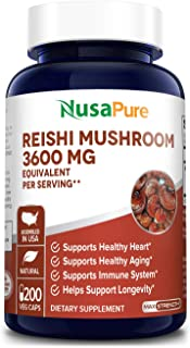 Reishi Mushroom Extract 3600 mg 200 Veggie Caps (Vegan, Non-GMO & Gluten-Free) Supports Heart Health* - Supports Blood Pre...