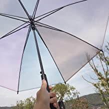 AXJX Clear Umbrella Large Transparent See Through Umbrellas Bridal Wedding Brolly Ladies Walking Stick Umbrellas for Women Multicolor