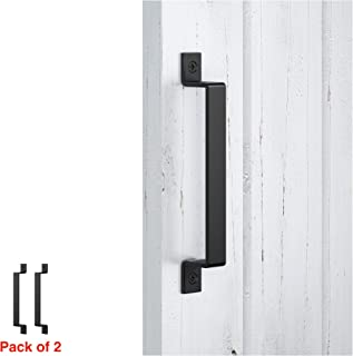 FaithLand Barn Door Handle, Black 10 inch Gate Handle Set (Pack of 2), Door Pull, Pull Handle for Sliding Barn Door Gate Cabinet Closet Drawer Garage Shed- 2 Sets of Different Lenths Screws Included