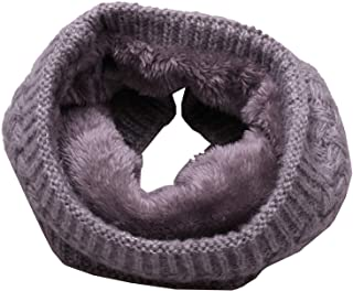 Unisex Winter Double-Layer Fleece Lined Circle Scarf Knit Neck Warmer Scarf FL006