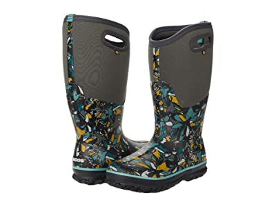 Bogs Classic Tall Wide Calf Wild Flower (Dark Gray Multi) Women