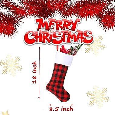 Christmas Stockings, 6 Pack 18 Inch Black White Buffalo Plaid Christmas Stockings Fireplace Hanging Stockings for Family Holi
