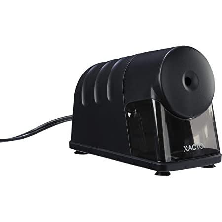 X-Acto 2012688 Model 1799 Powerhouse Heavy-Duty Electric Pencil Sharpener, Black, Quiet Operation, Hardened Helical Cutter for Maximum Precision and Durability, Suction Cup Feet for Safety