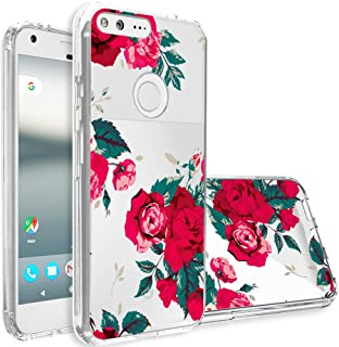 Google Pixel XL Case,Topnow [Anti-Scratch PC + Shockproof Anti-Drop Soft TPU] Advanced Printing Pattern Phone Cases Glossy Drawing Design Cover for Google Pixel XL(Flower-Rose Red)
