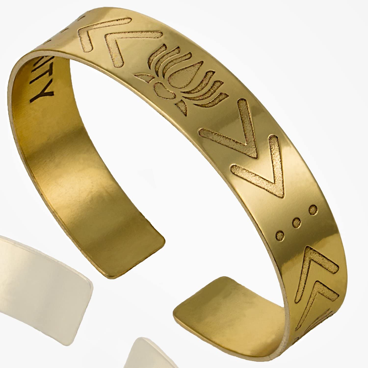 Tribe Azure Fair Trade Lotus Floral Gold Cuff Bracelet Women Beauty Resilience Purity Fashion Meaningful