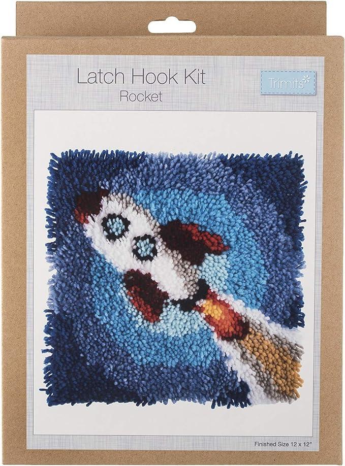 Trimits Latch Hook Kit fusée Licorne Tournesol Papillon Arc-en-visage heureux