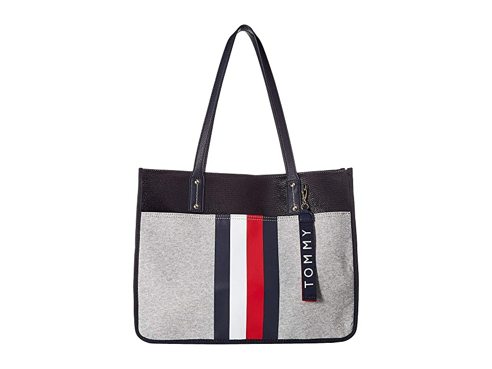 Tommy Hilfiger Raleigh Coated Fleece Tote (Grey) Tote Handbags