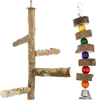Accessories for Bird- 2pcs Parrot Wood Stand Bird Perch Bird Stand Pole Bird Cage Hanging Toy