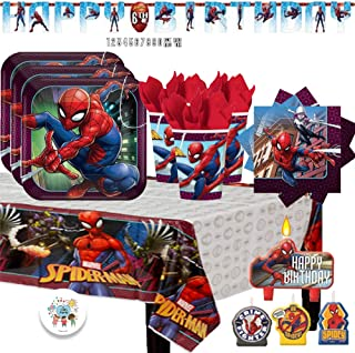 Spiderman Party Supply Pack with Birthday Banner, Plates, Cups, Napkins, Tablecover, Birthday Candles, and Exclusive Birthday Pin by Another Dream!