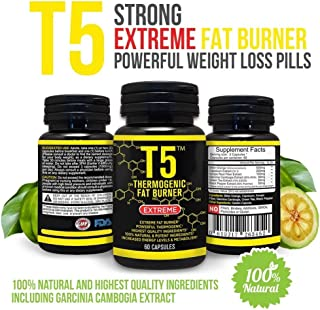 Strong T5 Thermogenic Fat Burner - Increases Energy And Metabolism Levels - 100% Natural And Safe Ingredients - Powerful Weight Loss Pills - Appetite Suppression Supplement 60 Vegetarian Capsules