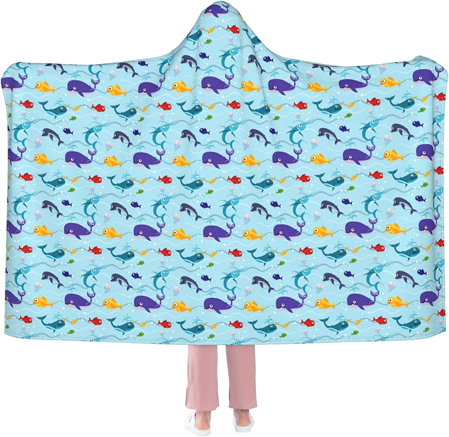Flannel Wearable Blanket Regular discount Funny Spring new work one after another Kids Fish Ultr Water Wrap Robe in
