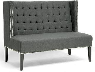 Best baxton studio owstynn gray linen modern banquette bench Reviews