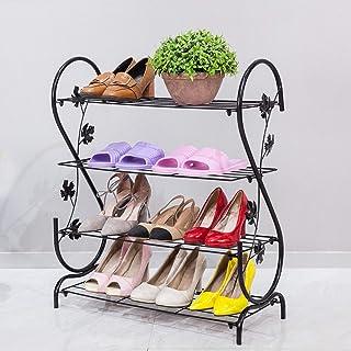 XJYBJF Iron Multi-Layer Shoe Rack Shelf Storage, Multifunctional Metal Shoe Stand Organizer Cabinet for Closet Bedroom Entryway
