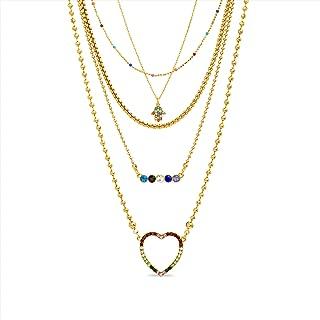 Steve Madden Heart Hamsa Hand Bar Layered Necklace Women
