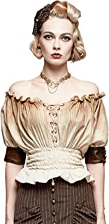 Women's Steampunk Smocked Blouse Renaissance Victorian Off Shoulder Shirts Lace Up Tops Halloween Costume