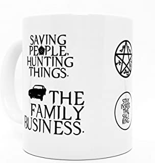 Double - Sided Supernatural Coffee Mug, 11 oz. Ceramic Supernatural Gift Mug - Anti-Possession Symbol, Devil's Trap,Stay Inside the Salt Ring, and Saving People Hunting Things. (SPN fan gift)