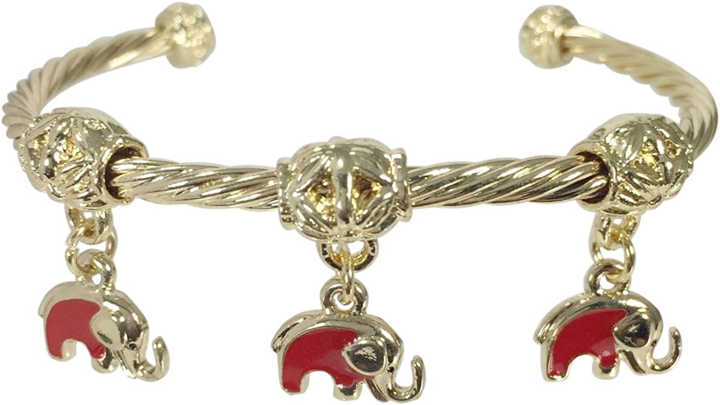 Gypsy Jewels Cute Dainty Dangle Elephant Charms Gold Tone Small Fit Cuff Bracelet