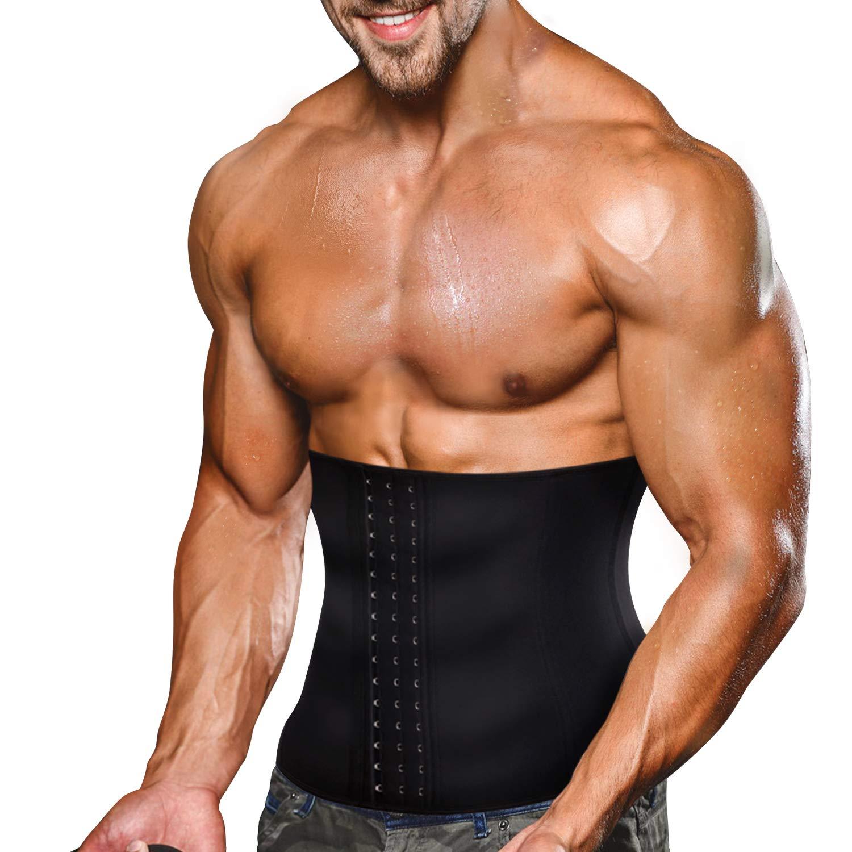 Wonderience Men Waist Trainer Slimming Body Shaper Belt Support Underwear Sweat Weight Loss Corset