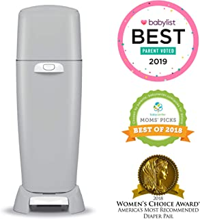 Playtex Diaper Genie Complete Diaper Pail, Fully Assembled, with Odor Lock Technology, Includes 1 Pail and 1 Refill, Grey
