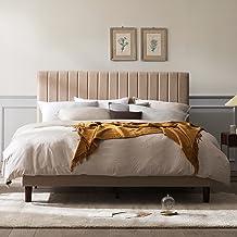 Zinus Debi Queen Upholstered Fabric Platform Bed Frame Base Mattress | Tall Headboard | Wooden Slat Support Steel Frame - ...