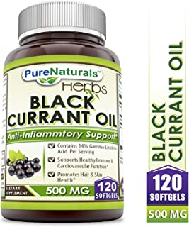 Pure Naturals Black Currant Oil - 500 Mg 120 Softgels - Excellent Source of Essential Fatty Acid - *Supports Healthy Immune & Cardiovascular Function*