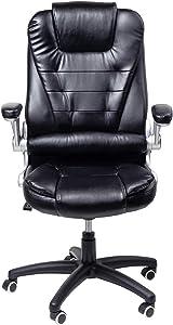 Display4top Poltrona Girevole per Ufficio con Schienale Alto in PU e braccioli ribaltabili Sedia da Ufficio con Sedia da scrivania