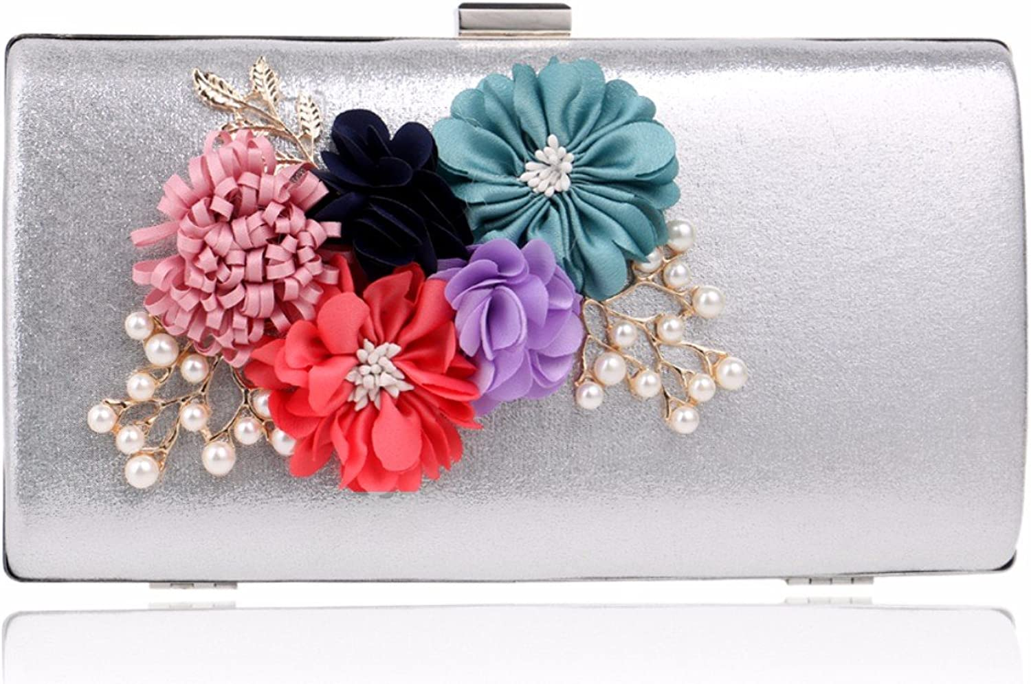 XJTNLB European and American New Flower Evening Dress Ladies Bag Luxury Dinner Clutch,Silvery