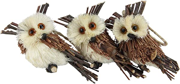 Northlight Pack Of 3 Brown Owl Sisal Christmas Ornaments 3 75