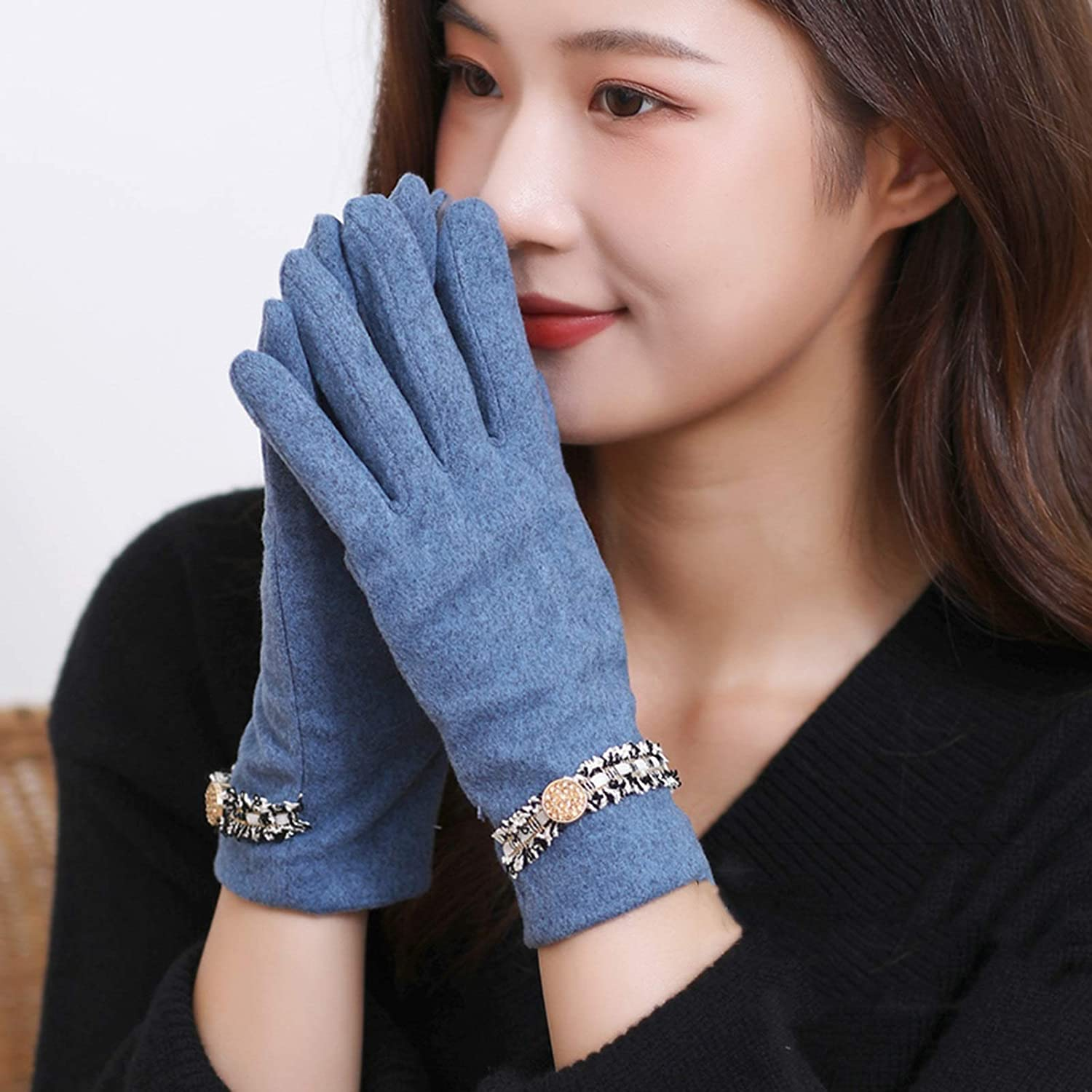 FOLDING Gloves Women's Thin Warm Gloves with Sensitive Touch Screen for Texting Fingers, Windproof Gloves (Color : Blue)