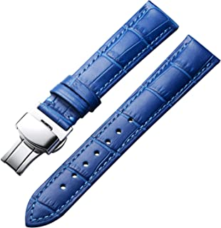 Bracelets de Montre en Cuir véritable Bracelet Alligator de Remplacement pour Hommes Femmes avec Boucle déployante en Arge...