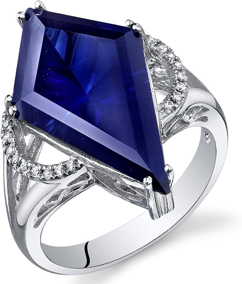 Kite Shape 8.00 Carats Created Milwaukee Mall Ranking TOP5 Sterling Sapphire Blue Ring Silve