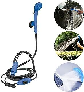 RAINBEAN Portable Handheld Camping Shower, Plug into 12V Cigarette Adapter, Pressure Washer Automobile Shower Set Suitable for Indoor/Outdoor, Pet Washing, Car Washing, Camping, Baby Showering-Blue
