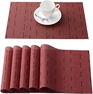 OSVINO 6 Pcs Stylish Multi-Color Bamboo Braided Stain Proof Hotel Home Kitchen Dining Table Placemats, red, 6Pcs Placemats
