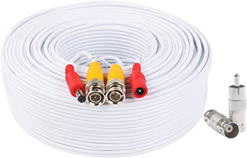 BNC Video Power Cable 200 Feet Pre-Made All-in-One Video Security Camera Cable Wire with Two Connectors for CCTV DVR ...