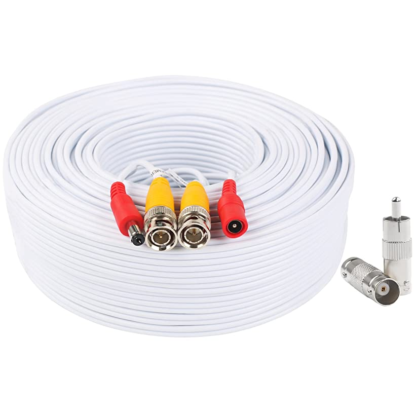 BNC Video Power Cable 150 Feet Pre-Made All-in-One Video Security Camera Cable Wire with Two Connectors for CCTV DVR Surveillance System