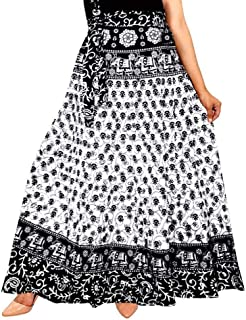 UrbanEra Women's Cotton Rajasthani Floral Print A-Line Wrap Around Skirt - (Free Size, Black & White)
