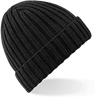 Beechfield Unisex Chunky Ribbed Winter Beanie Hat (One Size) (Black)