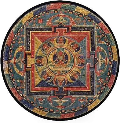 Buddhism Area Rug Round Non-Slip Carpet Living Room Bedroom Bath Floor Mat Home Decor (3 Feet Round)