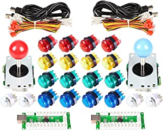 EG STARTS Classic Arcade DIY Kit Parts 2X USB LED Encoder to PC Consols Games + 2X 4/8 Ways Joystick + 20x 5V Illuminated Push Buttons for Mame Jamma (Red/Blue Stick + Mix Color Buttons)