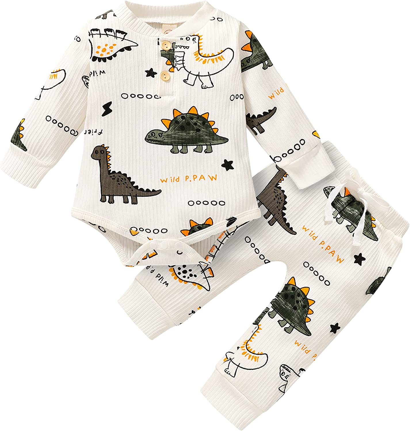 Dinosaur Newborn Baby Boy Clothes Ribbed Cotton Button Long Sleeve Romper and Pants 2pcs Fall Winter Outfits