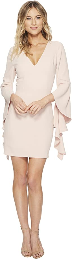 Halston Heritage Flounce Sleeve V-Neck Dress