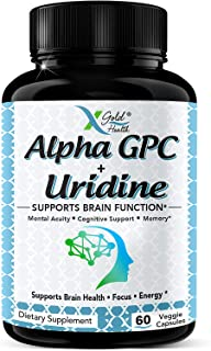 Alpha GPC Choline 600mg with Uridine Supplement 2in1- Promotes Boosted Focus and Energy, Memory Support, and Cognitive Per...