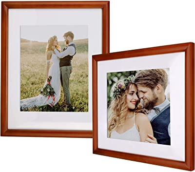 Yome 2 Pack 11x14 Walnut Brown Picture Frames with Mats, Photo Frames Set for Wall Display Pictures, Create Your Meaningful Memories, Solid Wood and Plexiglass