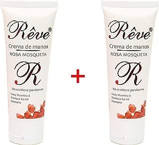 REVE Crema de Manos Rosa Mosqueta (Pack 2 Uds de 50 ml) Enriquecida con Urea, Vitamina E, Karité y Alantoina. Rápida Absorción - Textura no Grasa - Ideal para Manos Secas - Formato Bolso
