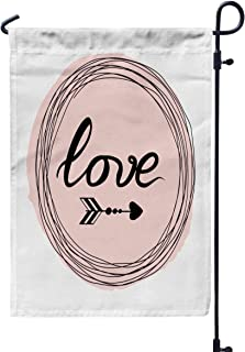 Shorping Yard Garden Flag, 12x18Inch for Holiday and Seasonal Double-Sided Printing Yards Flags Vector Hand Lettering Text Love and Arrow on The Round Frame into Circle