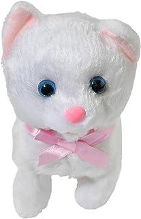 لعبة قطة بيضاء قطيفة من هومي، ألعاب قطط كهربائية، حيوانات أليفة تفاعلية، حيوانات محشوة